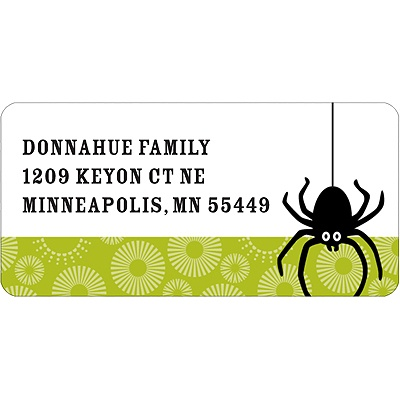Dangling Spider Halloween Address Label