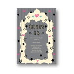 Hanging Hearts and Stars -- Unique Sweet 16 Party Invitations
