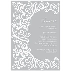 Curled Up in Elegant -- Sweet 16 Invitations