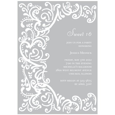 Curled Up in Elegant Sweet 16 Invitations