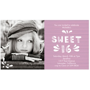 Etched in Wood -- Sweet 16 Photo Invitation