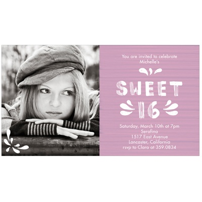 Etched in Wood Sweet 16 Photo Invitation