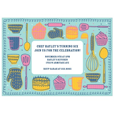 Kitchen Confections Custom Kids Birthday Invitations