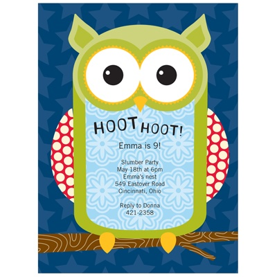 Hoot the Owl! Kids Birthday Invitations