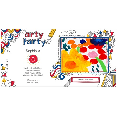 Imaginative Art Photo Kids Birthday Invitations