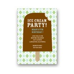 Argyle and Ice Cream in Green -- Cool Kids Birthday Invitations