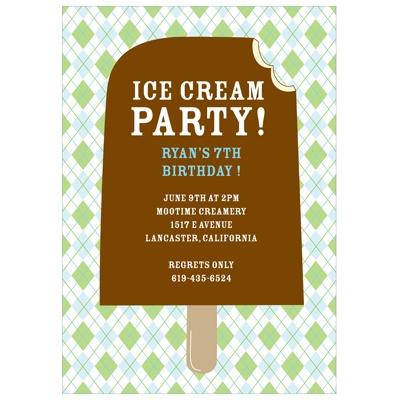 Argyle and Ice Cream in Green Cool Kids Birthday Invitations