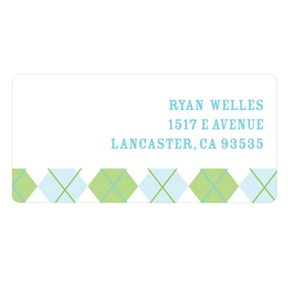 Argyle Edging in Green -- Kids Address Labels