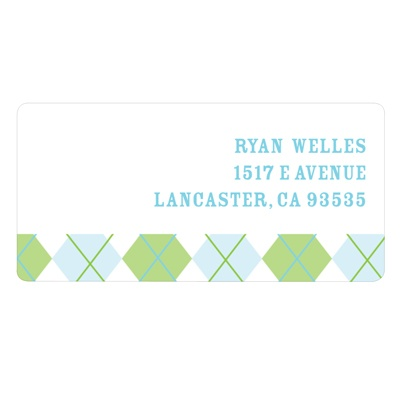 Argyle Edging in Green Kids Address Labels