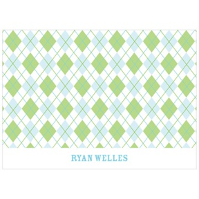 All Argyle in Green -- Kids Thank You Card