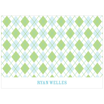 All Argyle in Green Kids Thank You Card