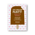 Argyle and Ice Cream in Pink -- Cool Kids Birthday Invitations