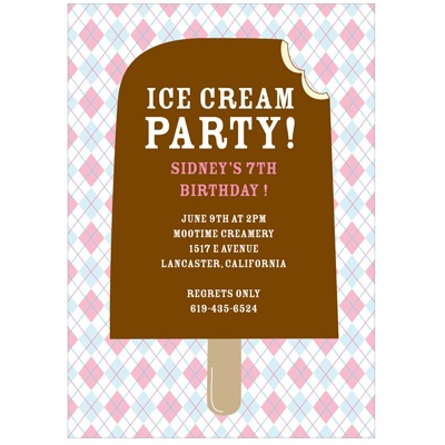 Argyle and Ice Cream in Pink Cool Kids Birthday Invitations