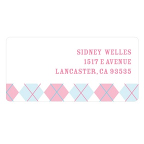 Argyle Edging in Pink -- Kids Address Labels