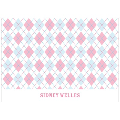 All Argyle in Pink Kids Thank You Card