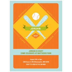 Baseball Celebration -- Kids Birthday Party Invitations