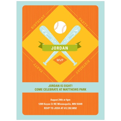 Baseball Celebration Kids Birthday Party Invitations