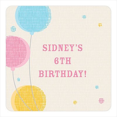 Criss-cross Balloons for Girls Kids Birthday Favor Stickers