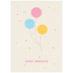 Balloon Craze in Aqua -- Kids Thank You Cards