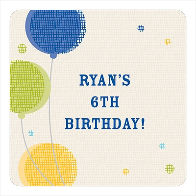 Criss-cross Balloons for Boys Kids Birthday Favor Stickers
