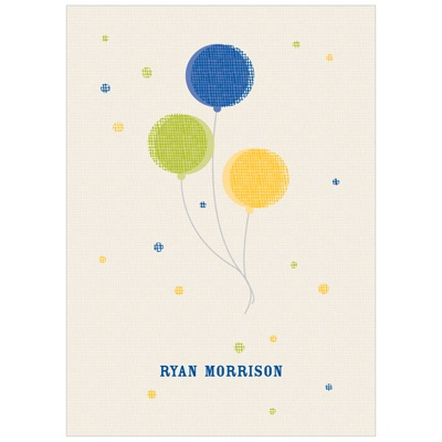 Balloon Craze in Blue Kids Thank You Cards