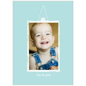 Framed Moment in Blue -- Kids Photo Thank You Cards