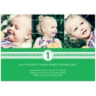 Playful Ribbon Kids Photo Birthday Invitations