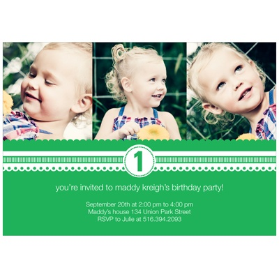 Playful Ribbon Kids Photo Birthday Invitations