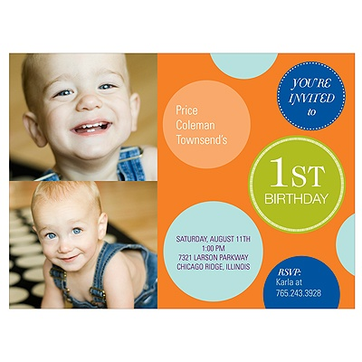 Fun Dots in Orange -- Photo First Birthday Invitations