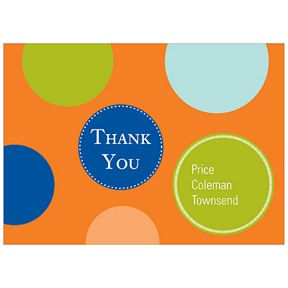 Fun Dots in Orange -- Kids Thank You Cards