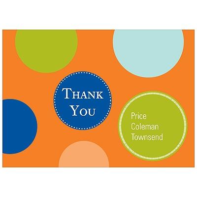 Fun Dots in Orange Kids Thank You Cards