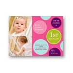 Fun Dots in Pink -- Photo First Birthday Invitations