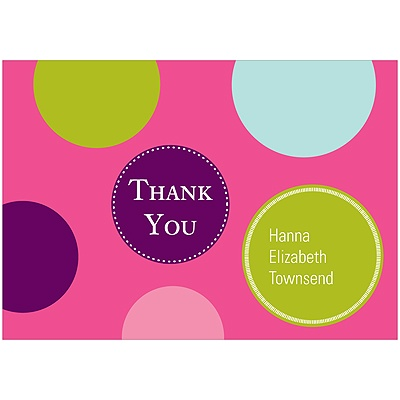 Fun Dots in Pink Kids Thank You Cards