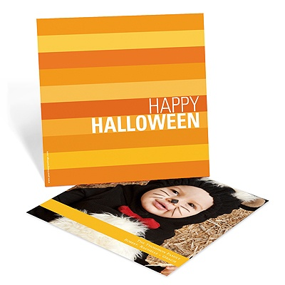Striped Halloween Greetings Halloween Photo Card