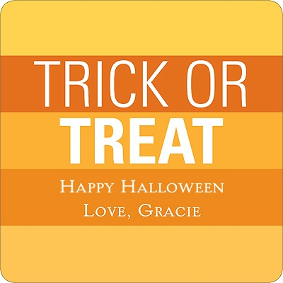 Striped Halloween Greetings Personalized Stickers