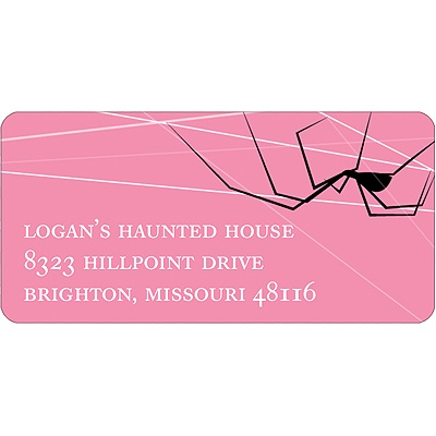 Spinning Spider Web Halloween Address Label