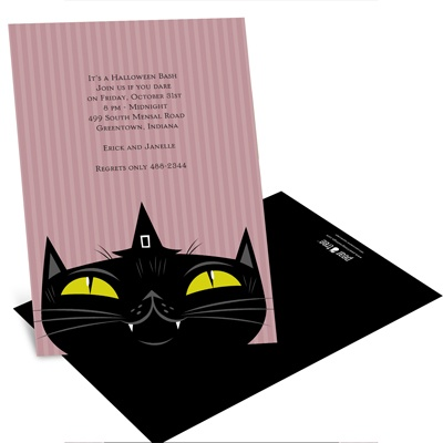 Sly Black Cat Halloween Party Invitation