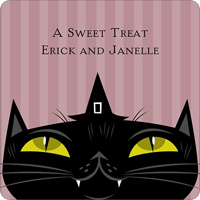 Sly Black Cat Halloween Personalized Stickers