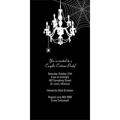Chandelier Web Scary Halloween Party Invitation