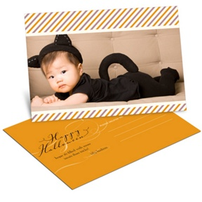 Striped Halloween Greetings -- Halloween Photo Postcard