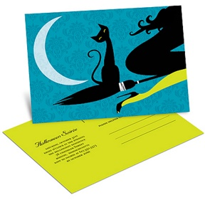 Black Cat in the Night -- Unique Halloween Invitation