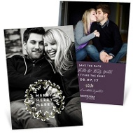 White Wreath Save The Date Cards