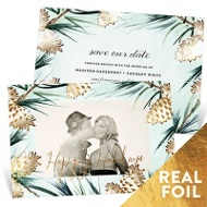 Foil Pine Cones Save the Date Cards