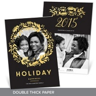 Faux Foil Wreath Premium Christmas Cards