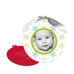 Falling Flakes Ornament -- Holiday Photo Birth Announcements