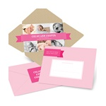 Simply Sweet Self Mailer in Pink -- Photo Baby Announcements