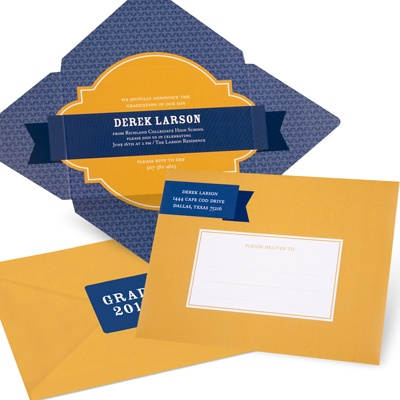 Diamond in the Rough Folded Self Mailer Graduation Announcements