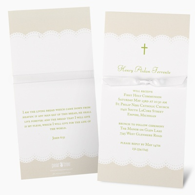 Wrapped in Ribbon Communion Invitations