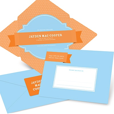 Simply Sweet Self Mailer in Blue -- Unique Baby Announcements