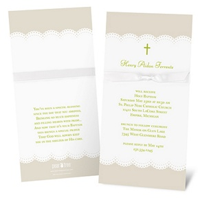 Scallops and Ribbon -- Baptism Invitations